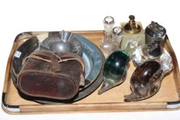 Pair of small silver topped vases, pair cased binoculars, two Wedgwood glass snail paperweights,
