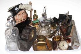 Tray of collectables including fan, watches, silver topped bottle, decanter, Doulton character jug,