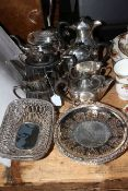 Collection of silver plated wares including teapots, bowls, jugs.