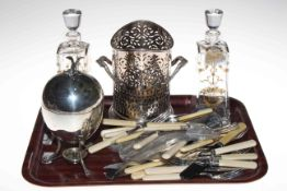 Pair gilded glass decanters, silver plated siphon stand and egg coddler,