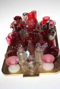 Collection of Victorian ruby glass, pair of spiral design jugs, pair of cruet bottles,