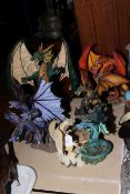 Five large dragon sculptures including Battle of the Dragon and The New Beginning.