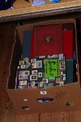 Box of stamp albums including c1980 FDCs, GB 1973-1990s used in album,