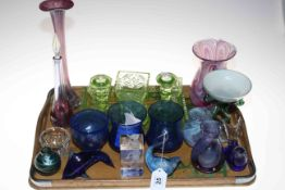 Collection of glassware including trinket set, vases, animals, etc.
