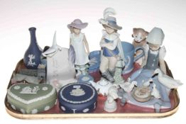 Lladro girl with geese, Nao figures, Wade Church and Stately Home, Wedgwood Jasperware, etc.