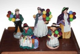 Five Royal Doulton figures, Biddy Penny Farthing, SIlks and Ribbons, Balloon Lady,