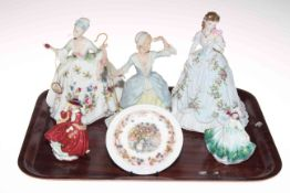 Three Royal Doulton ladies, Worcester and Wedgwood figures,