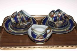 Continental porcelain twenty two piece tea service decorated with classical scenes.