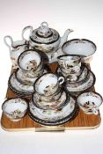 19th Century thirty four piece part tea service decorated with Oriental landscape,