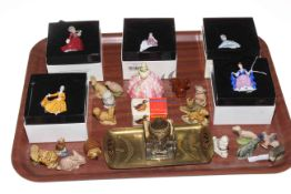 Six Royal Doulton miniature ladies, brass and glass inkwell, and collection of Wade Whimsies.