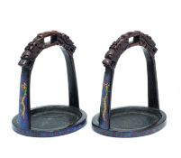 A PAIR OF CHINESE BRONZE AND CLOISONNÉ STIRRUPS, QUING DYNASTY, 19TH CENTURY