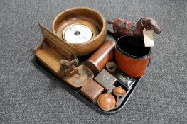 A tray of wooden items, miniature oak table box in the form of a settle, barometer, fruit bowl,