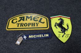 Three cast iron signs - Camel Trophy,