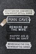 Five cast iron signs - Beware of the wife,