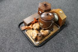 A tray of wooden tea caddy and biscuit barrel, inlaid mantel clock,