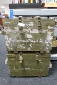 Two painted wooden military ammunition crates