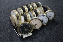 A tray of seventeen mid century Big Ben wind up alarm clocks