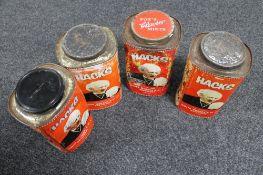 Four vintage metal Hacks tins
