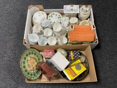 A box of part English china tea service, china mantel clock,