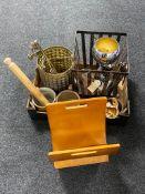 A box of rolling pin, glazed kitchen jars, brass bin, metal planter,