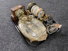 A tray of mid century alarm clocks, oak cased Art Deco clock,
