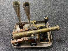 A silver plated gallery tray, brass El Tigre cannon on stand, vintage punch,