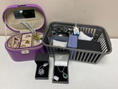 A tray of lady's watches, jewellery case of costume jewellery, silver rose ring,