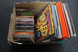 A box of 12 inch vinyl albums and 7 inch singles - compilations etc