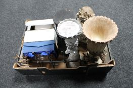 A box of contemporary mantel clocks, metal coat hooks,