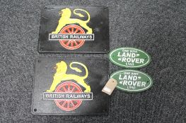 Four cast iron signs - Land Rover and British Railways