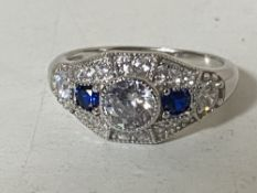 A Sterling silver Art Deco style ring