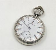 A large silver Waltham pocket watch with movement signed P. S.