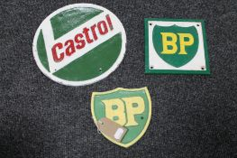 Three cast iron plaques - Two BP and Castrol
