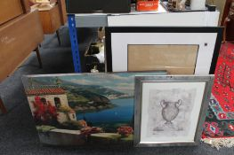 A draughtsman's drawing board, framed prints,