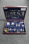 A canteen of Amefa Harley 44 piece six person stainless steel cutlery set together with a plated