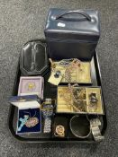 A tray of jewellery boxes, costume jewellery,
