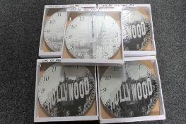 Ten boxed crystal wall clocks - New York scenes