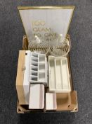 A box of contemporary home furnishings - wooden letter rack, jewellery boxes,