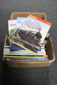 Two boxes of Hornby railway catalogues