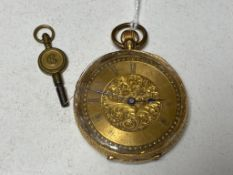 A small fob watch with 18ct gold outer case and key.