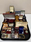 A large quantity of costume jewellery, contemporary pocket watch, gent's wristwatch,