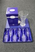 A boxed Royal Doulton crystal vase,