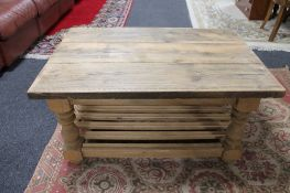 A reclaimed pine coffee table with under shelf