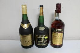 Two bottles of De Valcourt Napoleon French Brandy (1l and 100cl) together with a bottle of Duroc