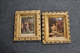 Two gilt framed Victorian chrystoleums