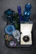A tray of assorted glass ware, boxed Caithness Alien paperweight, limited edition 709/2000,