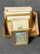 A box of assorted framed pictures and prints,
