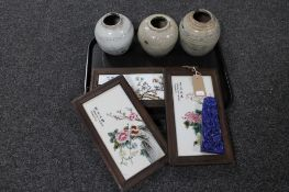 A tray of three framed hand painted Chinese porcelain panels, carved piece of lapis lazuli,