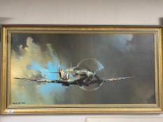 Barrie A.F. Clark : Spitfire, colour print on board, framed.