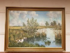 Continental school : setter by a pond, oil on canvas,